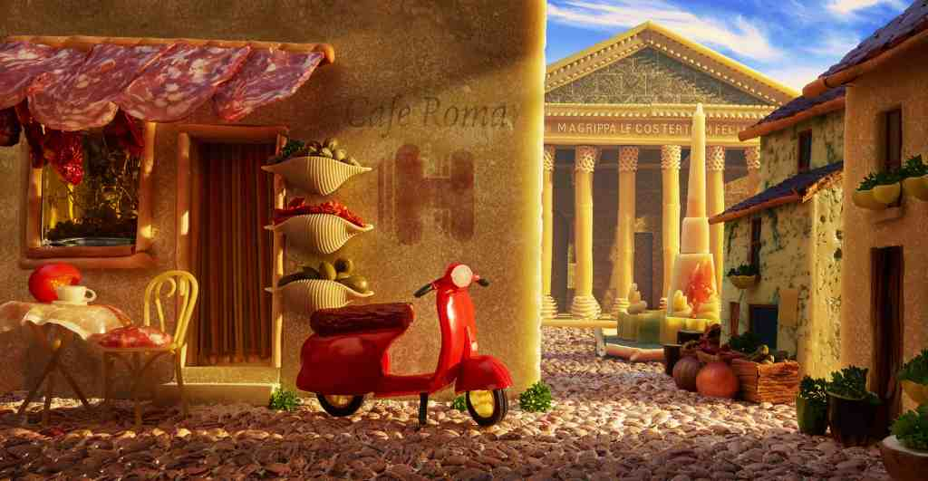 Food artist Carl Warner created this city scene of Rome featuring the Pantheon and a cobbled back street out of pasta, Parma ham and Parmesan cheese. Photo credit: Hotels.com