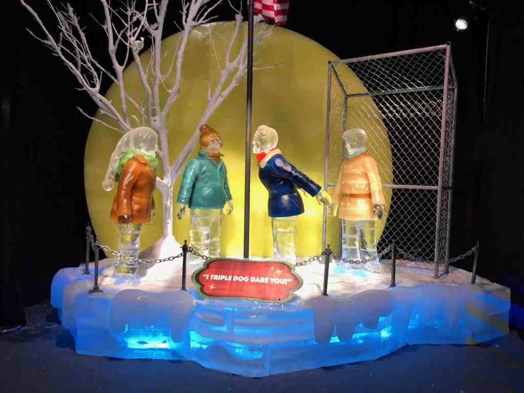 The ultimate triple dog dare at the school's flagpole scene from the movie, A Christmas Story at ICE!
