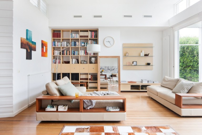 Living space with feature shelving. Photography: Shannon McGrath
