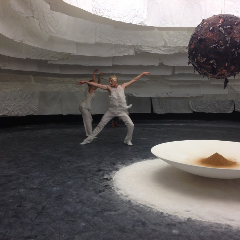 Dancers and installation as part of Inside There Falls. Photo: Penny Craswell