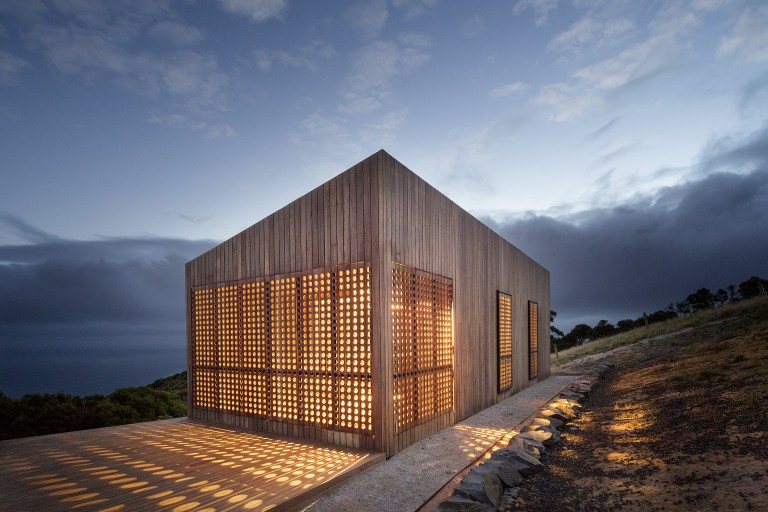 At night the structure glows - Moonlight Cabin by JCB. Photo: Jeremy Weihrauch of Gollings Studio