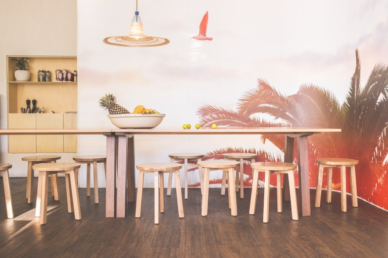 Pink sunset wall at Eat Burger, design by Amber Road. Image: supplied