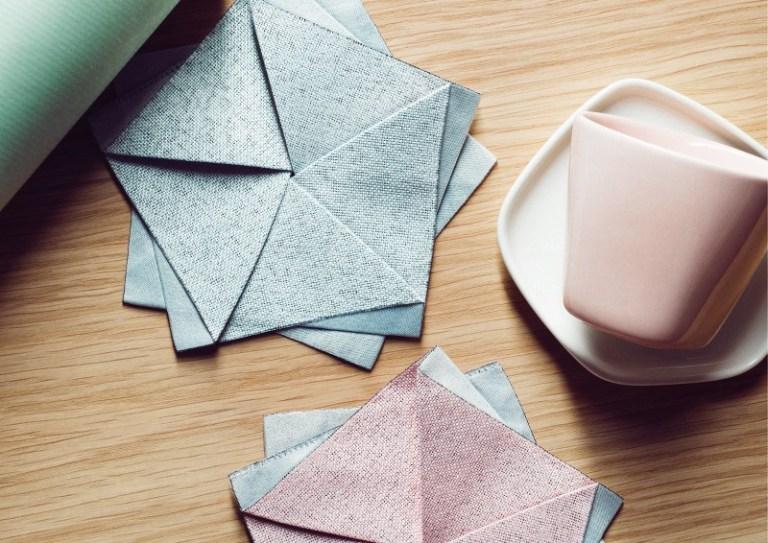 Iittala X Issey Miyake napkins and ceramics. Image: supplied