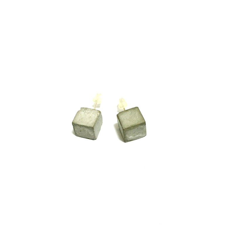 Concrete cube earrings by All Goods of Concrete. The Design Writer blog.