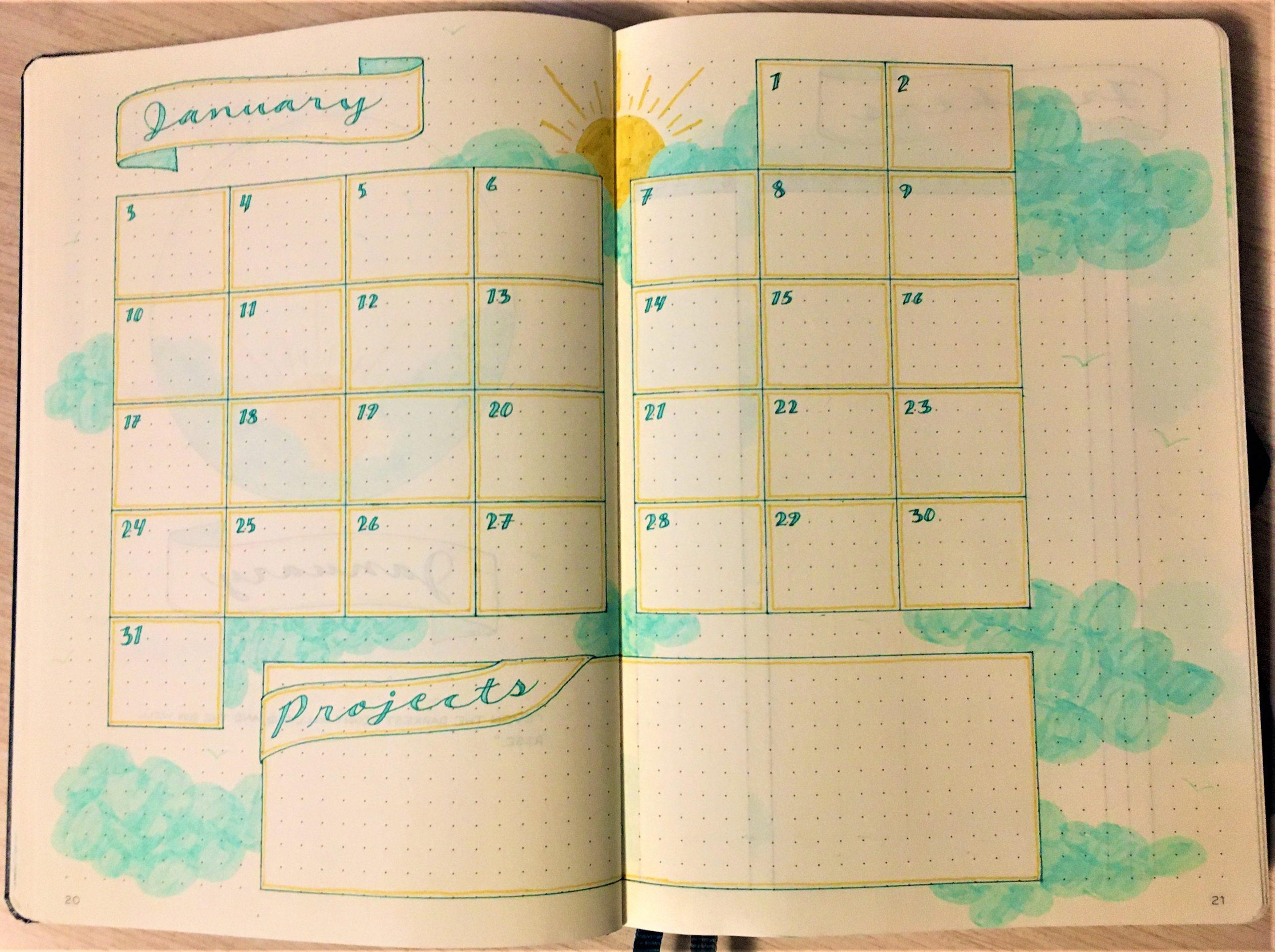 Bulelt journal January monthly spread