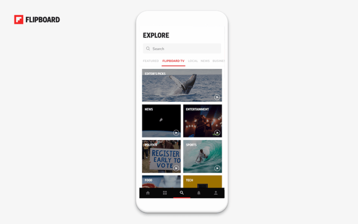 Flipboard TV interface on the app.