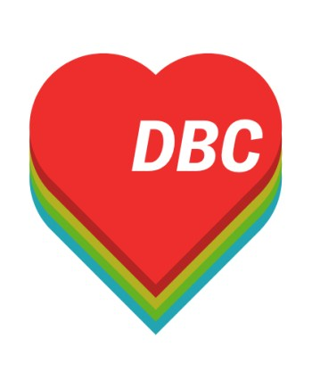 Heart with DBC initials and multi-colored shadow