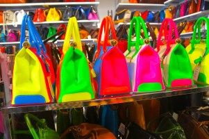 Neon bags on display in Venice
