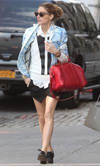 Olivia Palermo in black Zara mini skort