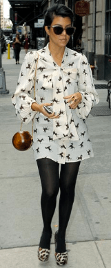 Kourtney Kardashian in horse print dress