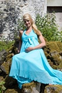 Halterneck maternity chiffon bridal gown