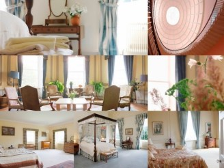 Sharpham House rooms - collage