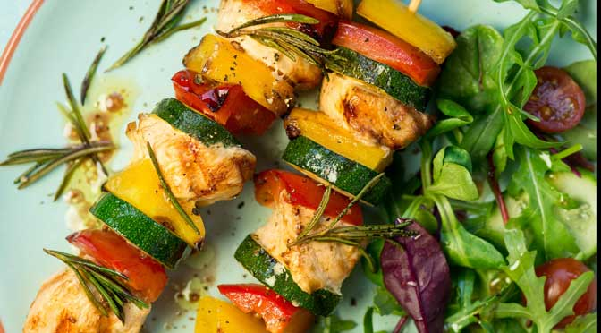 BBQ Chicken and Pepper Kebabs