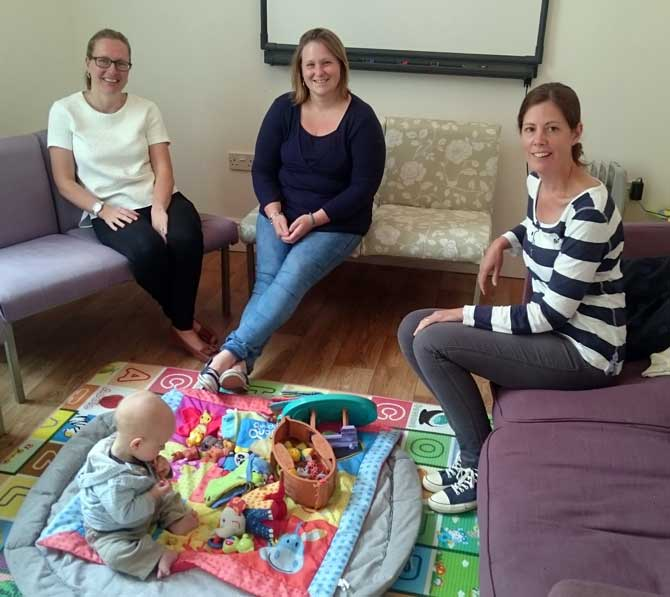 LtoR - Louise Cook, Liz Gunn, Jodie Mortimore and baby Jonah from Healthy Babies UK.
