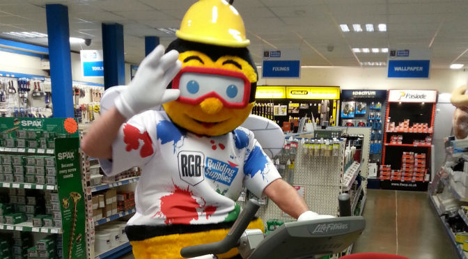 RGB Building Supplies mascot Archie Bee taking part in the cycle challenge in aid of Prostate Cancer UK.
