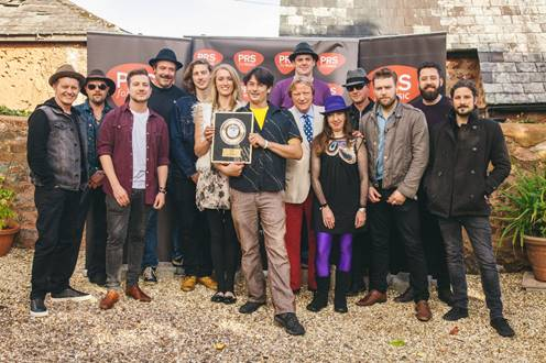 Pictured: PRS Chairman - Guy Fletcher; Landlord- Edward Sproat; Landlady- Elisha Connolly and5 band members from Brother & Bones - Rich Thomas, Alex Karban, James Willard, Yiannis Sachinis, Robin Howell-Sprent; plus 6 band members from Mad Dog Mcrea -  Michael Mathieson, Dan Crimp, Dave Podmore, Nicky Powell, Pete Chart, Jimi Galvi