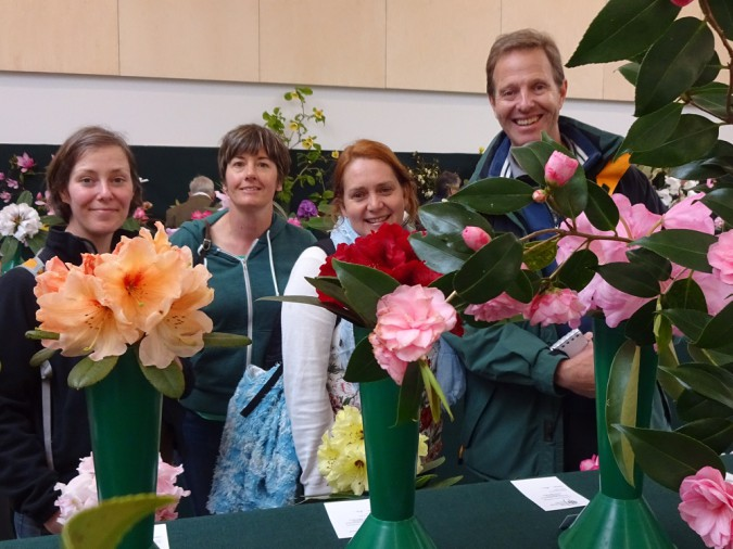 Greenway gardeners Juliet Stubbington, Stacey Toppin, Julie Embury and Colin Clark with their prize-winning flowers. Courtesy of National Trust / Sandy Howard
