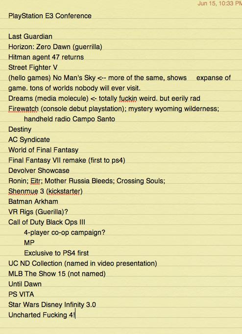 playstation e3 conference, sony e3, the last guardian, shenmue iii, final fantasy remake, ff7, e3 2015,
