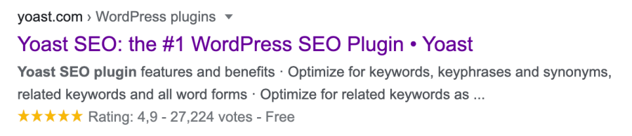Screenshot of Yoast SEO result in the Google search results with a star rating.