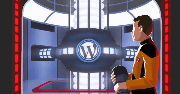 Illustration of someone in a Yoast uniform looking at a machine with the WordPress logo on it