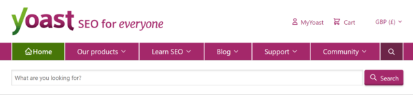 The internal search interface in the main navigation on yoast.com