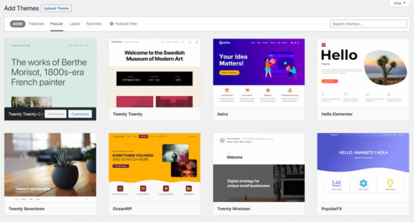 An overview of 8 popular WordPress themes