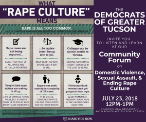 Community Forum on Rape Culture, July 23rd 12-1pm 400 N Bonita Ave