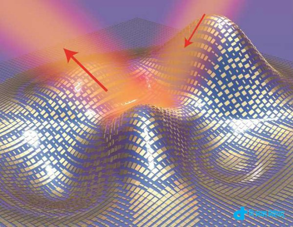 Light reflects off the cloak (red arrows) as if it were reflecting off a flat mirror in this 3D illustration of a metasurface skin cloak made from an ultrathin layer of nanoantennas (gold blocks) covering an arbitrarily shaped object is shown in this handout image courtesy of Xiang Zhang group on September 17, 2015. Scientists said on Thursday they have successfully tested an ultra-thin invisibility cloak made of microscopic rectangular gold blocks that, like skin, conform to the shape of an object and can render it undetectable with visible light.   REUTERS/Xiang Zhang group/Lawrence Berkeley National Laboratory/Handout    FOR EDITORIAL USE ONLY. NOT FOR SALE FOR MARKETING OR ADVERTISING CAMPAIGNS. THIS IMAGE HAS BEEN SUPPLIED BY A THIRD PARTY. IT IS DISTRIBUTED, EXACTLY AS RECEIVED BY REUTERS, AS A SERVICE TO CLIENTS