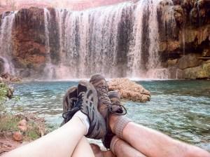 Couple enjoying Navajo Falls, Havasupai