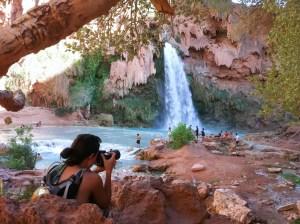 photographer shooting Havasu Falls, Havasupai