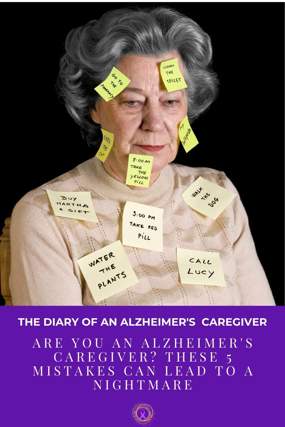 older woman with post it stuck all over her