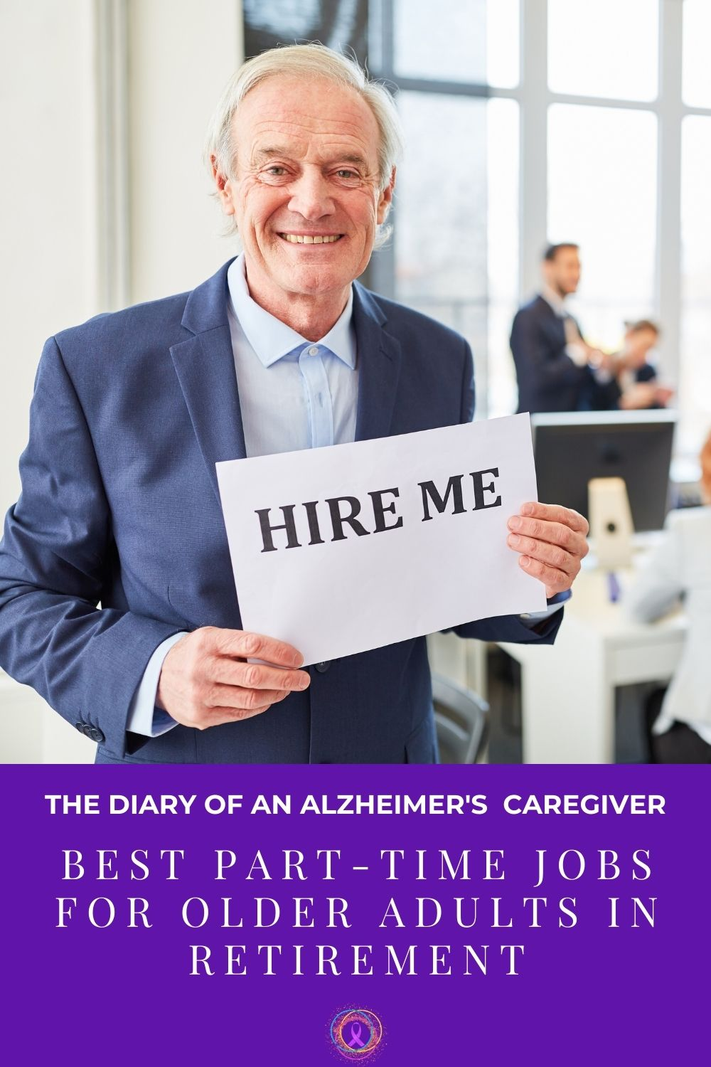 """elderly man holding a sign that says, """"hire me""""."""