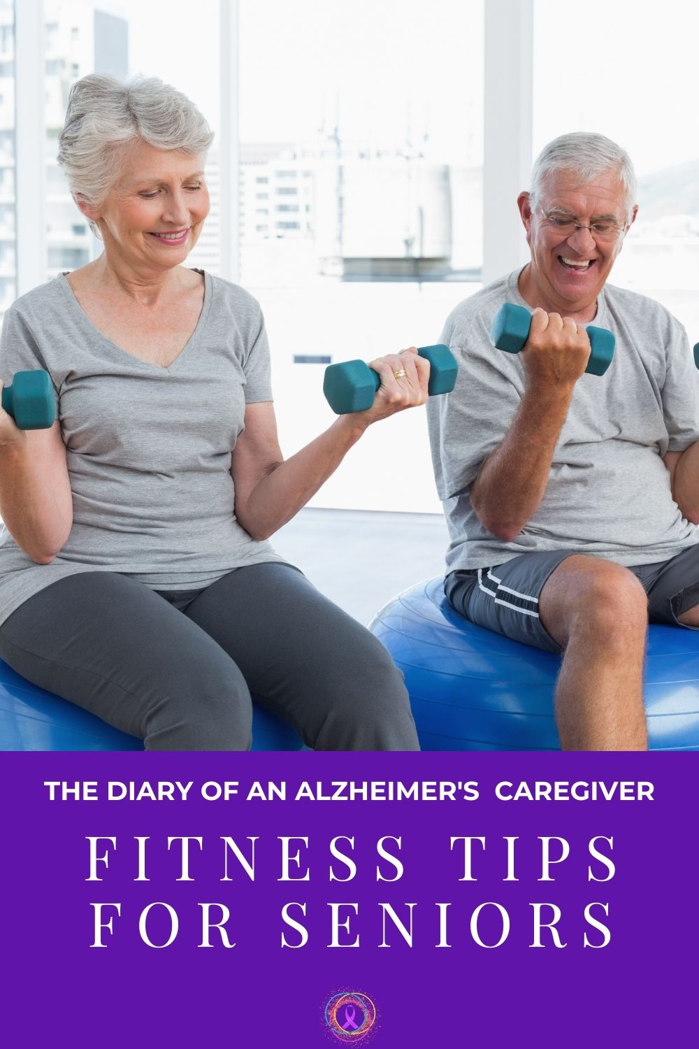 an elderly couple exercising together