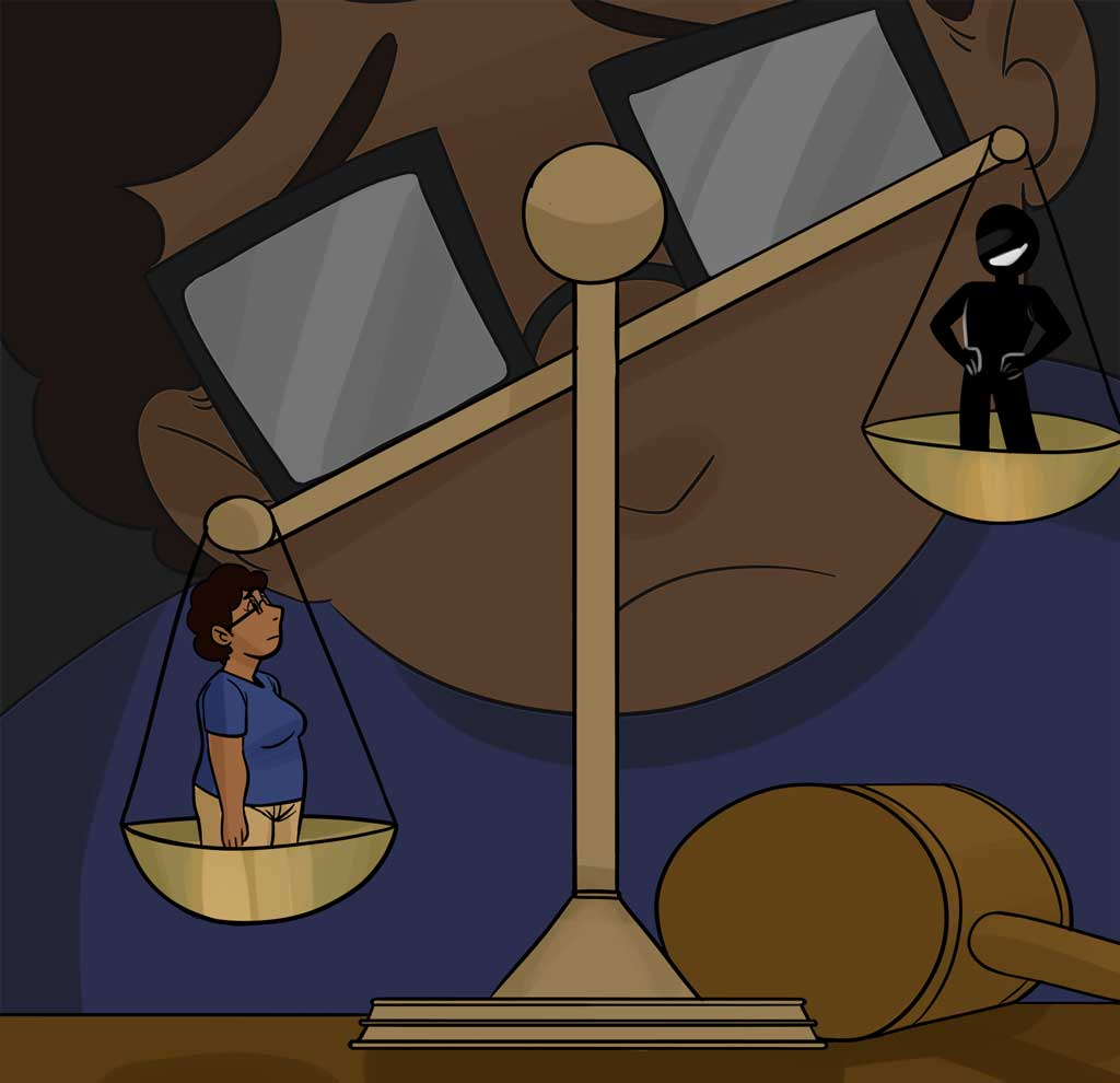 """The weights of justice hold Jocelyn and a shadowy figure, implied to be """"The boyfriend"""". He is lifted up high in a snarky but positive pose. Jocelyn is down low, looking somber. A faded Jocelyn looks over the situation upset of the turn out."""