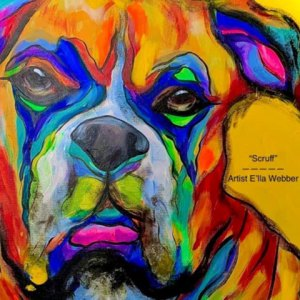 colorful painting of a dog