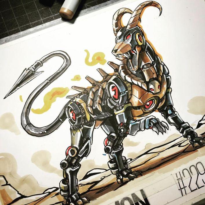 Madow Tsai's Mechamon illustration of houndoom