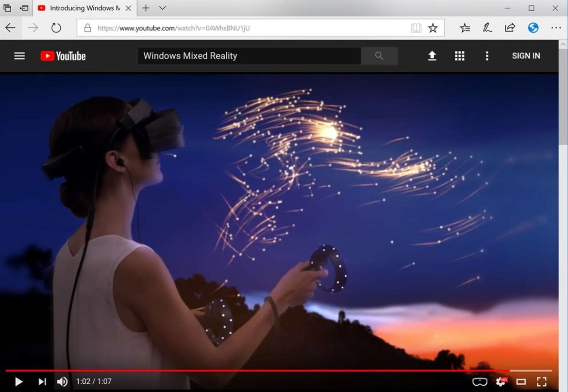 Microsoft release new Edge extension that enables 360 degree videos in Windows Mixed Reality