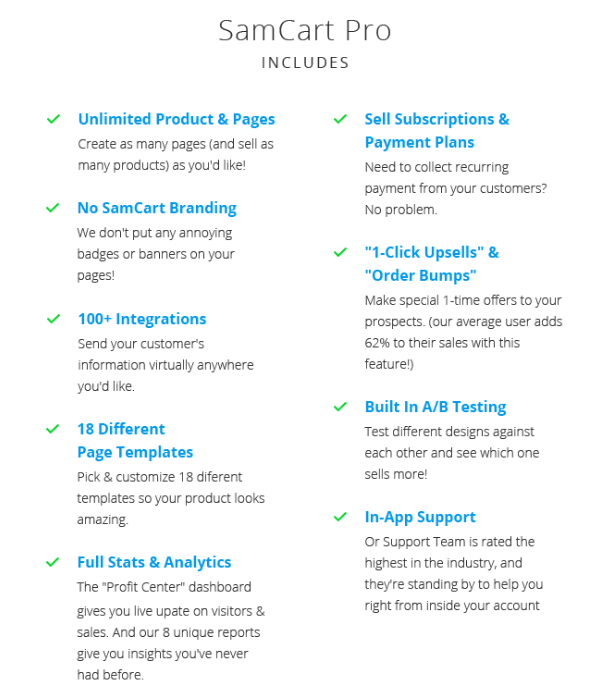SamCart Pro Includes these features