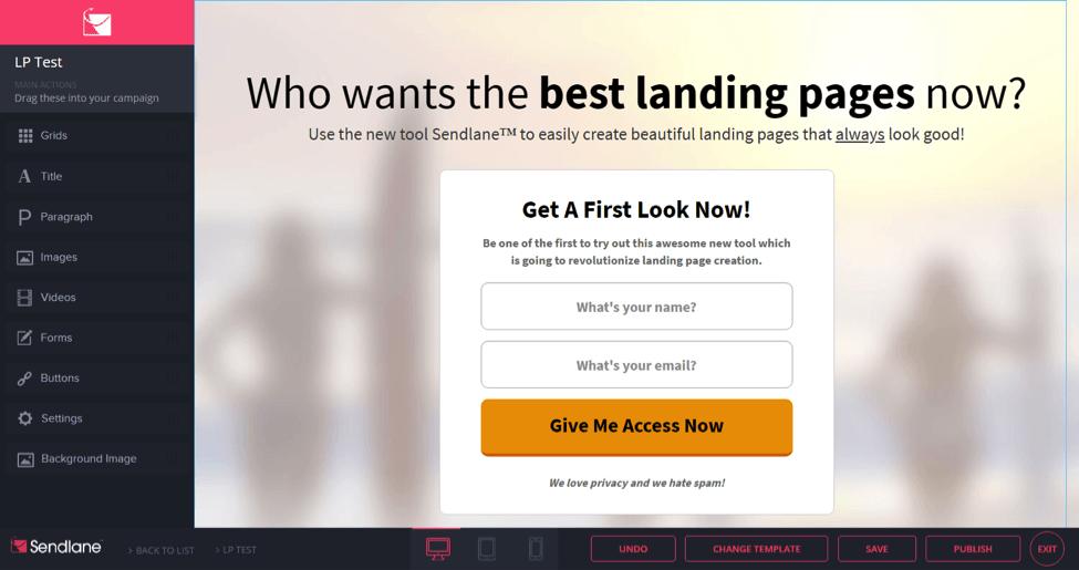 sendlane landing pages
