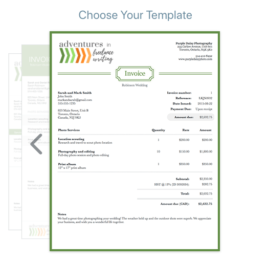 Wave Invoice Example