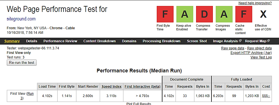 Siteground web page performance test