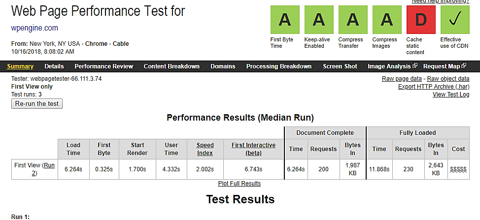 wp engine web page performance test