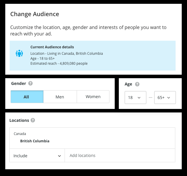 hootsuite change audience