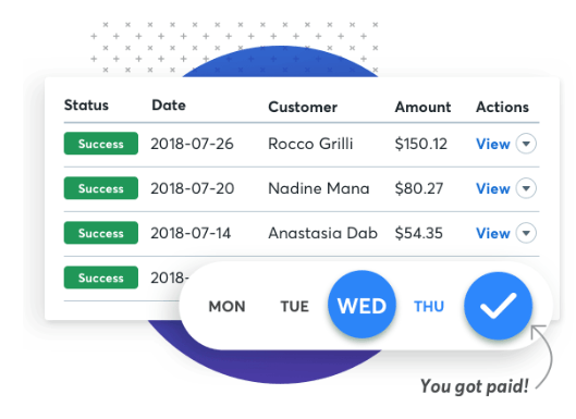 wave screenshot of submitting payment