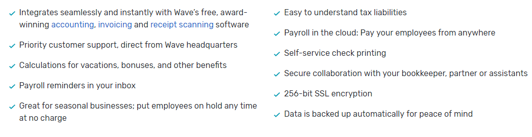 a list of other wave payroll features