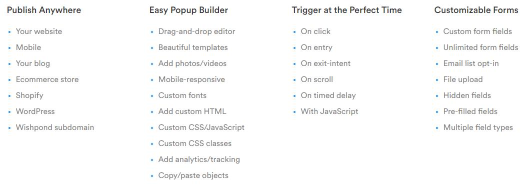 Wishpond Website Popup Features
