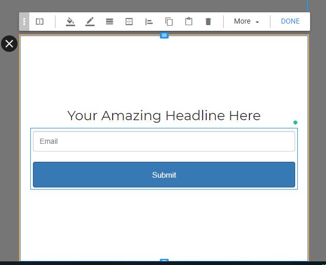 Wishpond heading line editor