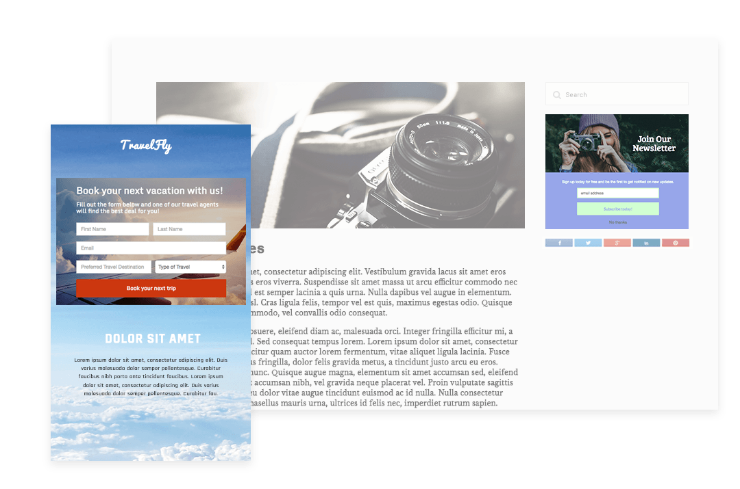 wishpond form and landing page