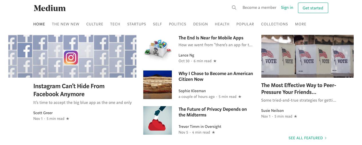 blogs on medium homepage