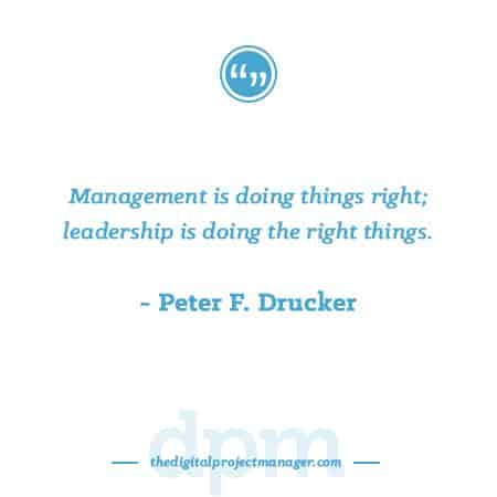 """Project Management Quotes - """"Management is doing things right; leadership is doing the right things.""""~ Peter F. Drucker"""